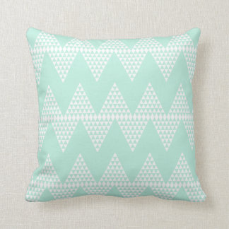 Mint Green White Geometric  Chevron Pattern Throw Pillow