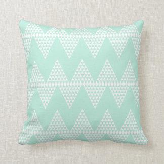 Mint Green White Geometric  Chevron Pattern Throw Pillow