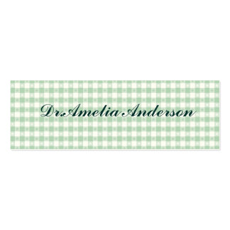 mint green,white,gingham,floral,country chic,girly pack of skinny business cards