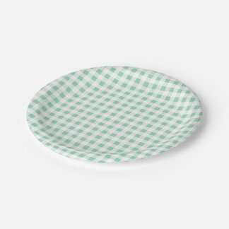 Mint Green White Gingham PatternMint Green Paper Plate