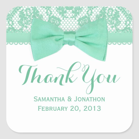 Mint Green & White Lace Bow Wedding Thank You Square Sticker