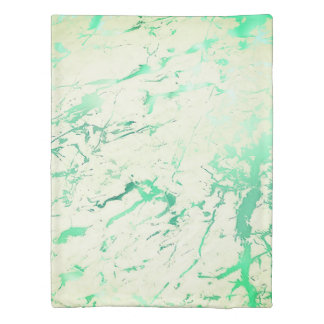 Mint Green White Marble Stone Abstract Emerald Duvet Cover