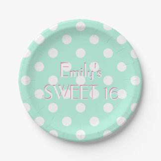 Mint green white polka dot paper plate