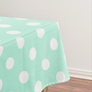 mint green white polka dot picnic tablecloth
