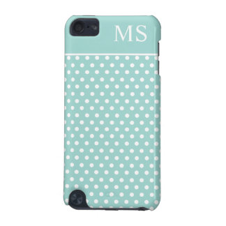 Mint Green White Polka Dots & Monogram iPod Touch (5th Generation) Cover