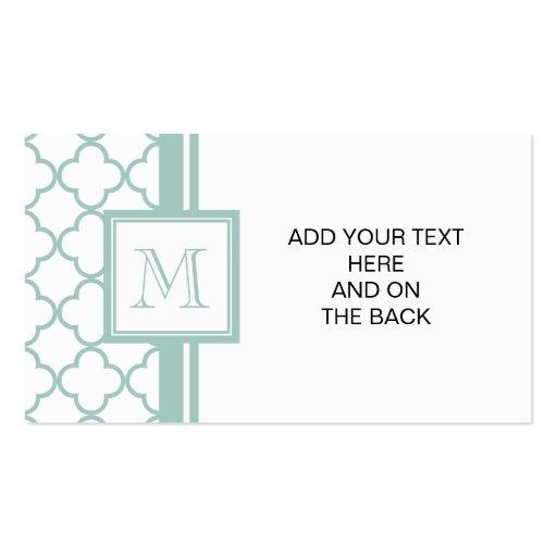 Mint Green, White Quatrefoil   Your Monogram Business Card Templates