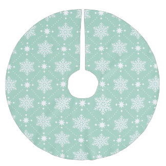 Mint Green White Snowflakes Christmas Pattern Brushed Polyester Tree Skirt