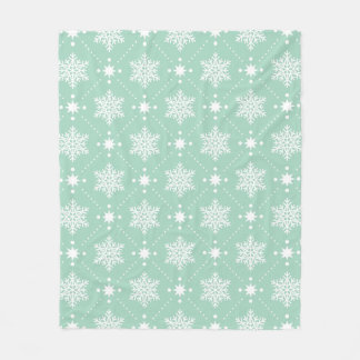 Mint Green White Snowflakes Christmas Pattern Fleece Blanket
