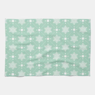 Mint Green White Snowflakes Christmas Pattern Kitchen Towel