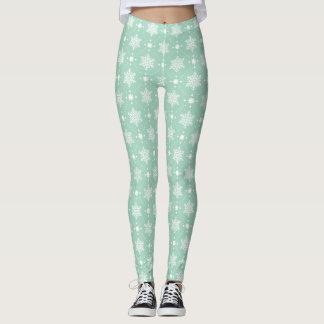 Mint Green White Snowflakes Christmas Pattern Leggings