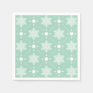 Mint Green White Snowflakes Christmas Pattern Paper Napkin