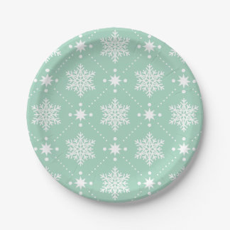 Mint Green White Snowflakes Christmas Pattern Paper Plate