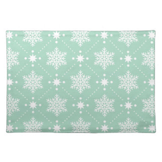 Mint Green White Snowflakes Christmas Pattern Placemat