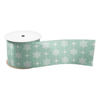 Mint Green White Snowflakes Christmas Pattern Satin Ribbon