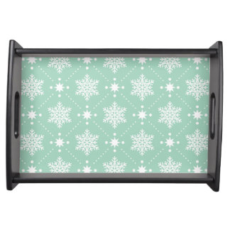 Mint Green White Snowflakes Christmas Pattern Serving Tray
