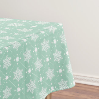 Mint Green White Snowflakes Christmas Pattern Tablecloth