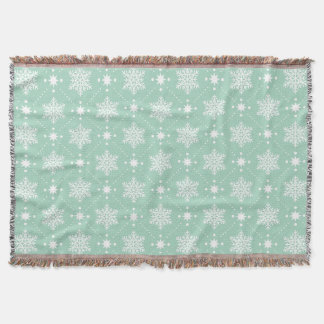 Mint Green White Snowflakes Christmas Pattern Throw Blanket