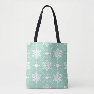 Mint Green White Snowflakes Christmas Pattern Tote Bag