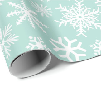 Mint Green White Snowflakes Wrapping Paper