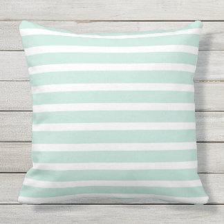 Mint Green & White Striped Lines, Beautiful Summer Throw Pillow