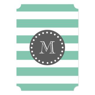 Mint Green White Stripes Pattern, Charcoal Monogra Card