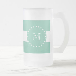 Mint Green White Stripes Pattern, Your Monogram 16 Oz Frosted Glass Beer Mug