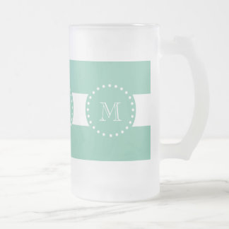 Mint Green White Stripes Pattern, Your Monogram Frosted Glass Mug