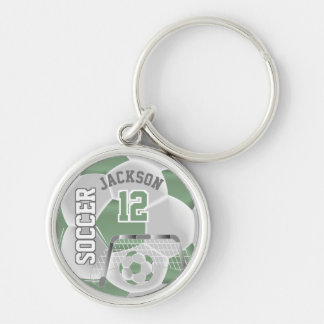 Mint Green & White Team Soccer Ball Keychain
