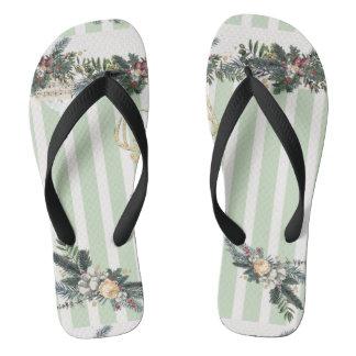mint green ,white,vertical trendy stripes,shabby c flip flops