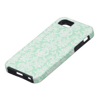 Mint Green & White Vintage Floral Damasks iPhone 5 Covers