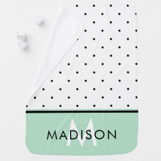 Mint Green with Black and White Polka Dots Baby Blanket