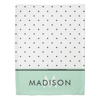 Mint Green with Black and White Polka Dots Duvet Cover