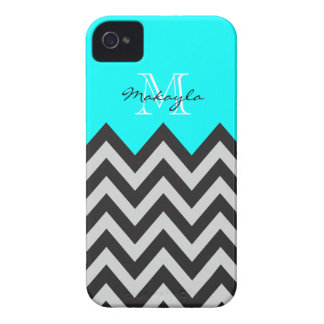 Mint Green with Gray and Black Chevron Pattern iPhone 4 Case