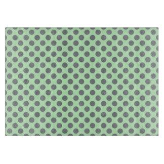 Mint Green With Grey Polka Dots Cutting Board