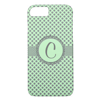 Mint Green with Grey Polka Dots-Monogram STaylor iPhone 8/7 Case