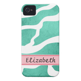 Mint Green Zebra Pattern, Lightning Shape iPhone 4 Covers