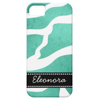 Mint Green Zebra Pattern, Lightning Shape iPhone 5/5S Cases