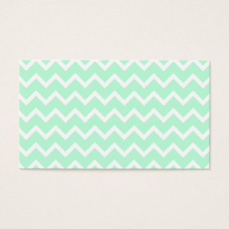 Mint Green Zigzag Chevron Stripes. Business Card