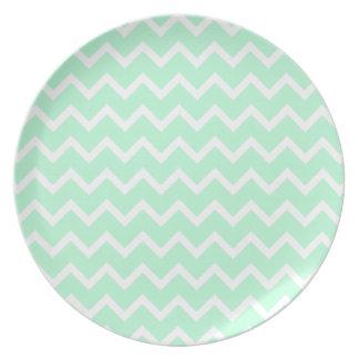 Mint Green Zigzag Chevron Stripes. Dinner Plate