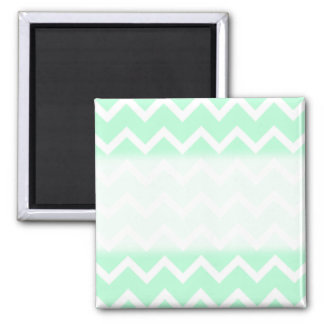 Mint Green Zigzag Chevron Stripes. Square Magnet
