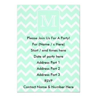 Mint Green Zigzag with Custom Monogram. Card
