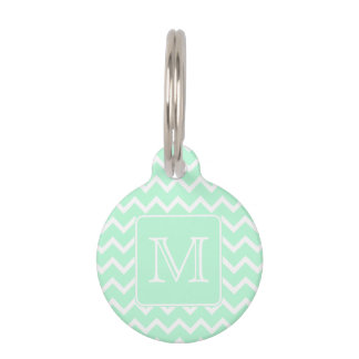 Mint Green Zigzag with Custom Monogram. Pet Name Tag