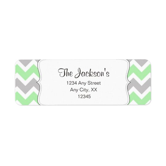 Mint Grey Chevron baby shower return address