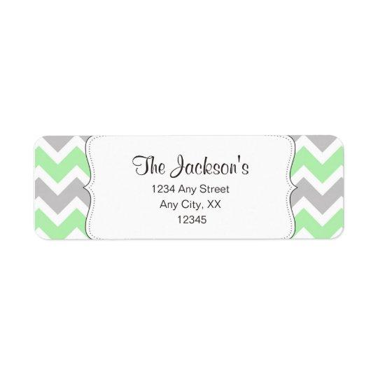 Mint Grey Chevron baby shower return address Return Address Label