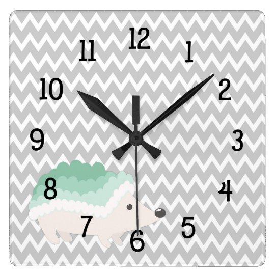 Mint Grey Chevron Hedgehog Clock - nursery bedroom