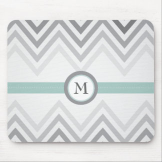 Mint + Grey Chevron Mousepad