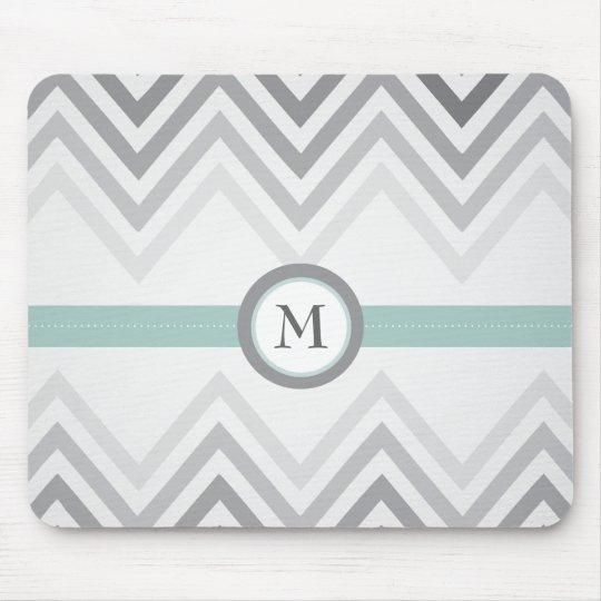 Mint + Grey Chevron Mousepad