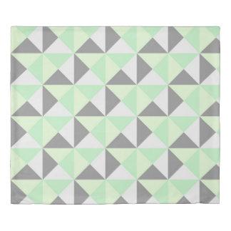 Mint Grey Geometric Triangles Duvet Cover