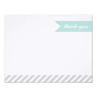 Mint & Grey Modern Flag & Stripes Thank You Cards