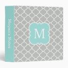 Mint Grey Personalized Monogram School Binder